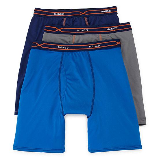 Hanes Men's X-Temp® Performance FreshIQ™ Long Leg Boxer Brief 3-Pack