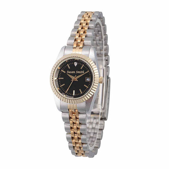Womens Crystal Accent Two Tone Stainless Steel Bracelet Watch-Pw00177