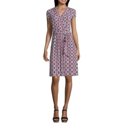 Liz Claiborne Short Sleeve Geometric Wrap Dress