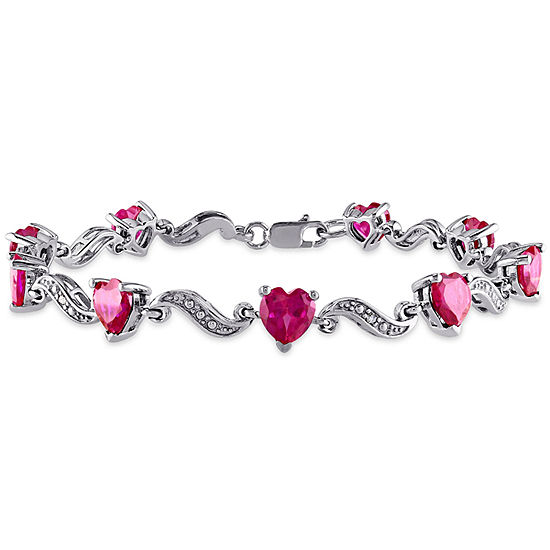 Womens 7 Inch Lab Created Ruby Sterling Silver Link Bracelet