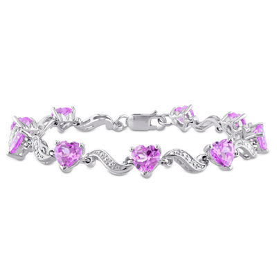 Womens 7 Inch Pink Sapphire Sterling Silver Link Bracelet