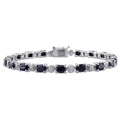 Black Sapphire Sterling Silver 7.25 Inch Tennis Bracelet
