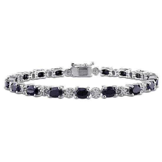 Genuine Black Sapphire Sterling Silver 7.25 Inch Tennis Bracelet