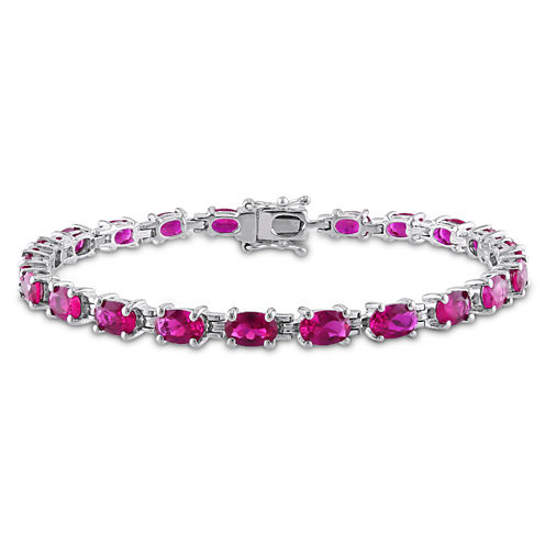Womens Lab Created Ruby Sterling Silver Tennis Bracelet