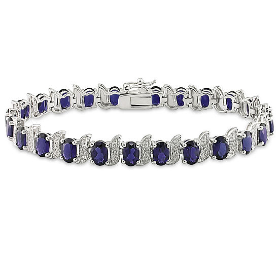 Lab Created Blue Sapphire Sterling Silver 7 Inch Tennis Bracelet