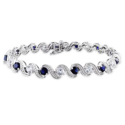 Womens 7 1/4 Inch Blue Sapphire Sterling Silver Link Bracelet
