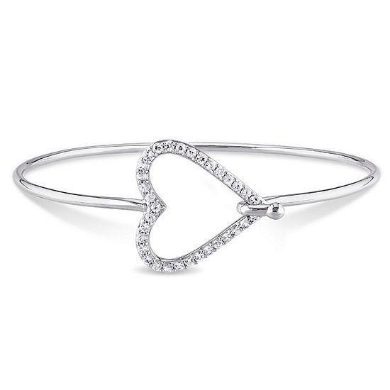 Genuine White Sapphire Sterling Silver Bangle Bracelet