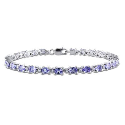 Womens Purple Tanzanite Sterling Silver Tennis Bracelet