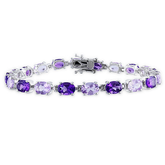 Genuine Purple Amethyst Sterling Silver 7.25 Inch Tennis Bracelet