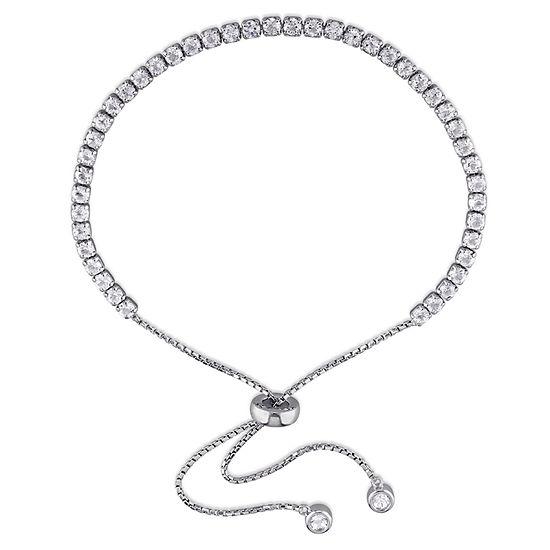 Genuine White Topaz Sterling Silver Bolo Bracelet