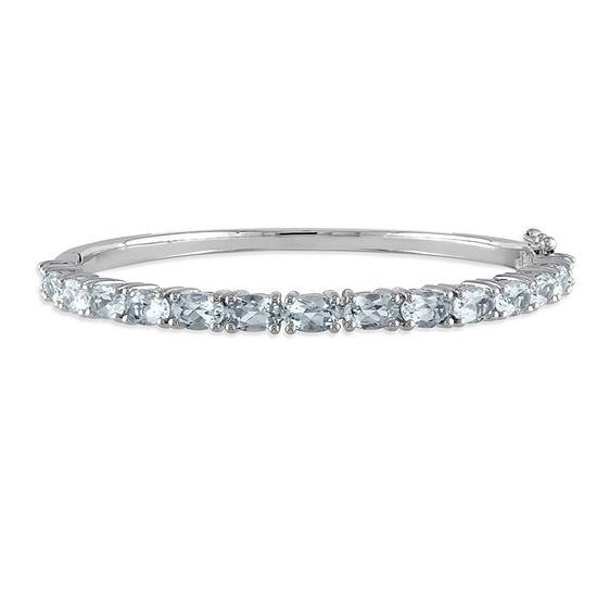 Genuine Blue Aquamarine Sterling Silver Bangle Bracelet