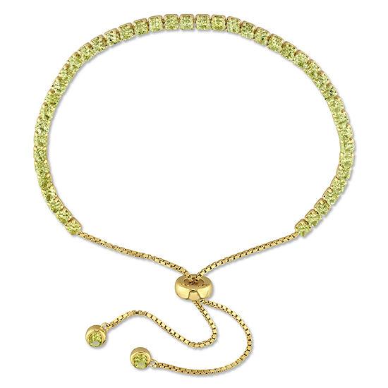 Genuine Green Peridot Sterling Silver Bolo Bracelet