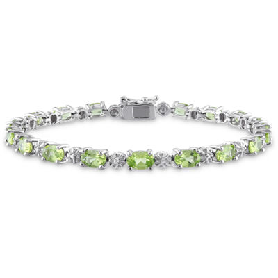 Womens Diamond Accent Green Peridot Sterling Silver Tennis Bracelet