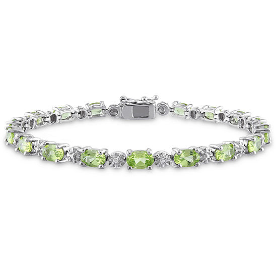 Diamond Accent Genuine Green Peridot Sterling Silver 7.25 Inch Tennis Bracelet