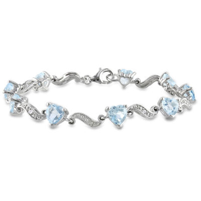 Womens 7 Inch Diamond Accent Blue Blue Topaz Sterling Silver Link Bracelet