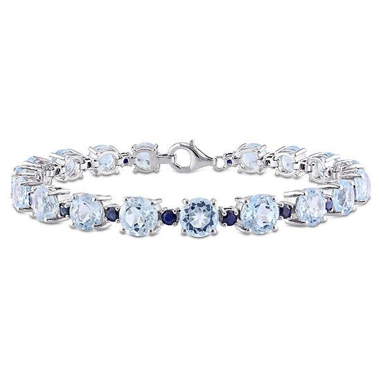 Genuine Blue Topaz Sterling Silver 7 3/4 Inch Tennis Bracelet