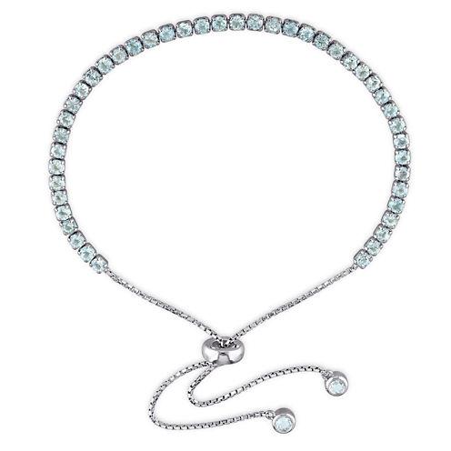 Womens Blue Blue Topaz Sterling Silver Bolo Bracelet