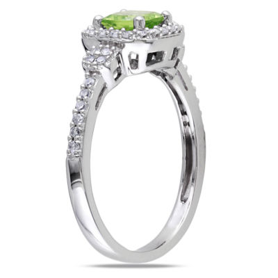 Womens 1/6 CT. T.W. Genuine Green Peridot 10K Gold Cocktail Ring