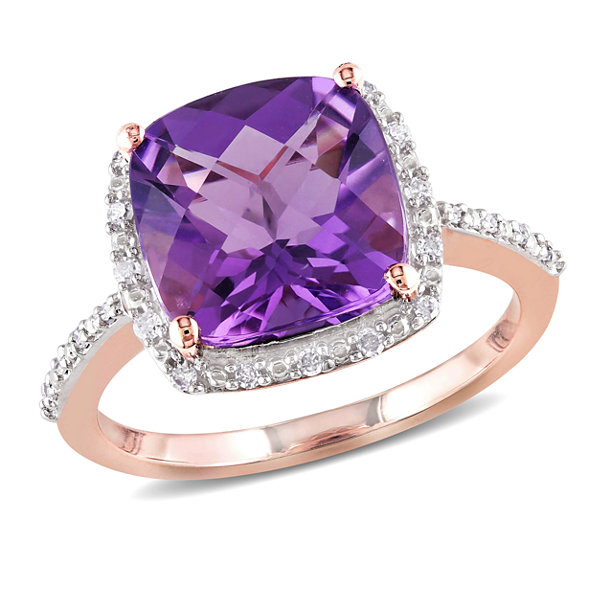 Fine Jewelry Womens Purple Amethyst 10K Gold Cocktail Ring t7Plw9Ng