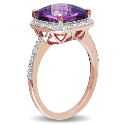 Womens 1/10 CT. T.W. Genuine Purple Amethyst 10K Gold Cocktail Ring