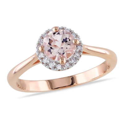 Womens 1/10 CT. T.W. Genuine Pink Morganite 10K Gold Cocktail Ring