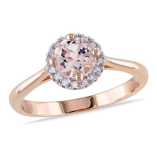 Womens 1/10 CT. T.W. Genuine Pink Morganite 10K Gold Cocktail Ring