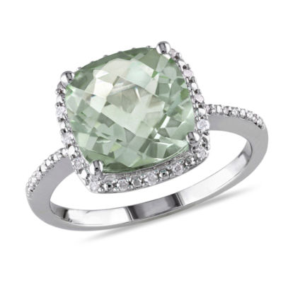 Womens 1/10 CT. T.W. Green Amethyst Sterling Silver Cocktail Ring