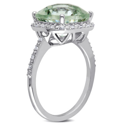 Womens 1/10 CT. T.W. Genuine Green Amethyst Sterling Silver Cocktail Ring