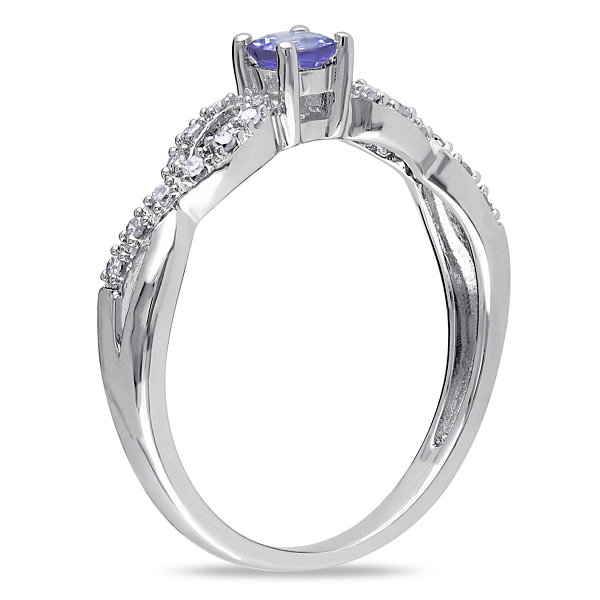 Womens Genuine Purple Tanzanite Sterling Silver Cocktail Ring