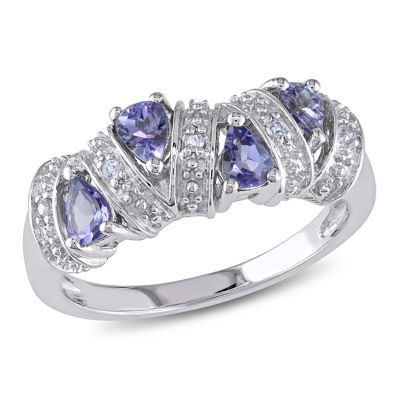 Womens Purple Tanzanite Sterling Silver Cocktail Ring