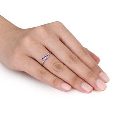 Womens Diamond Accent Genuine Purple Amethyst 10K Gold Cocktail Ring