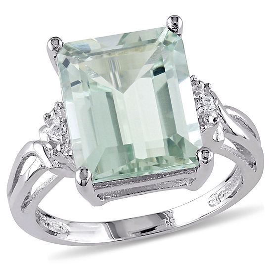 Womens Diamond Accent Genuine Green Amethyst Sterling Silver Cocktail Ring