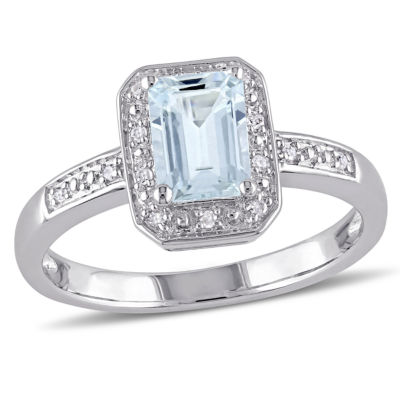 Womens Diamond Accent Blue Aquamarine Sterling Silver Cocktail Ring