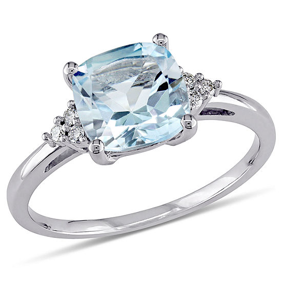 Womens Diamond Accent Genuine Blue Topaz 10K Gold Cocktail Ring