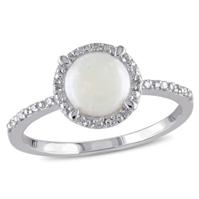 Womens Diamond Accent Genuines White Opal Sterling Silver Cocktail Ring