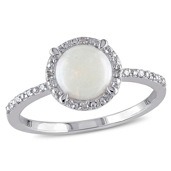Womens Diamond Accent Genuine White Opal Sterling Silver Cocktail Ring