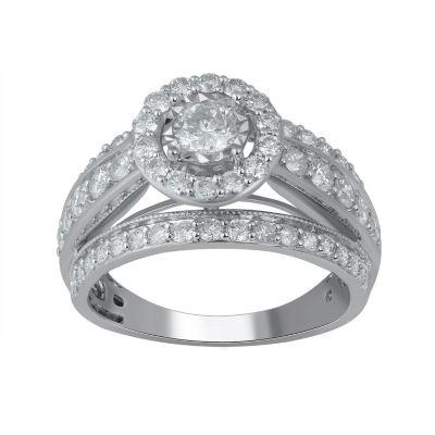 Womens 1 1/2 CT. T.W. Genuines White Diamond 14K Gold Round Engagement Ring