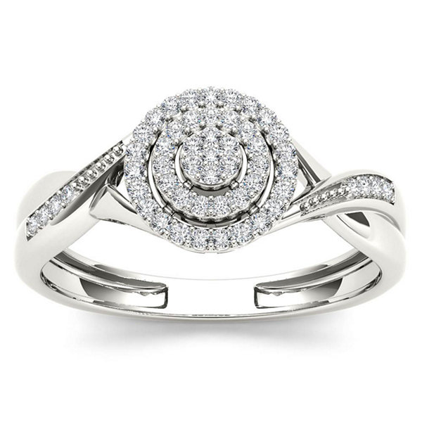 Womens 1/6 CT. T.W. Genuine Round White Diamond 10K Gold Engagement Ring