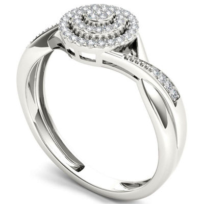 Womens 1/6 CT. T.W. Genuine White Diamond 10K Gold Engagement Ring