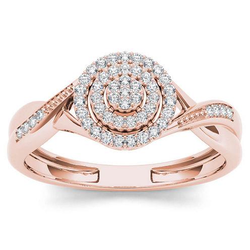 Womens 1/6 CT. T.W. Genuine Round White Diamond 10K Gold Engagement Ring
