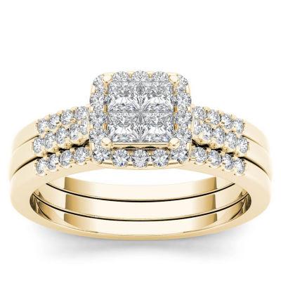 Womens 1/6 CT. T.W. Genuine White Diamond 10K Gold Engagement Ring