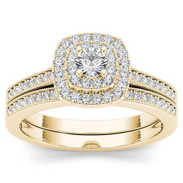 Fine Jewelry Womens 2 CT. T.W. White Diamond 14K Gold Bridal Set BCgYjK