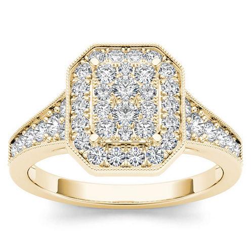 Womens 5/8 CT. T.W. Genuine Round White Diamond 10K Gold Engagement Ring