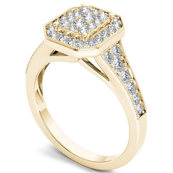 Womens 5/8 CT. T.W. Genuine Round White Diamond 10K Gold Engagement Ring