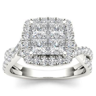 Womens 2 CT. T.W. Genuine White Diamond 14K Gold Engagement Ring
