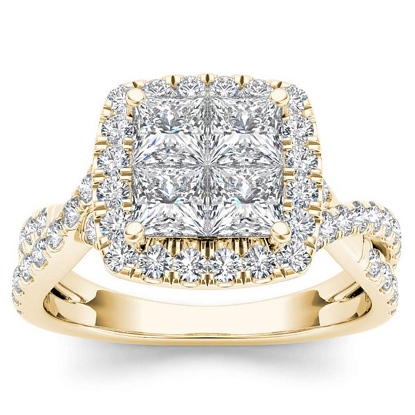 Womens 2 CT. T.W. Princess White Diamond 14K Gold Engagement Ring