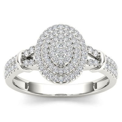 Womens 1/4 CT. T.W. Genuine White Diamond 10K Gold Engagement Ring