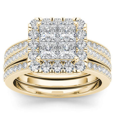 Womens 1 1/2 CT. T.W. White Diamond 14K Gold Bridal Set