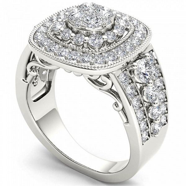 Womens 1 1/2 CT. T.W. Round White Diamond 14K Gold Engagement Ring