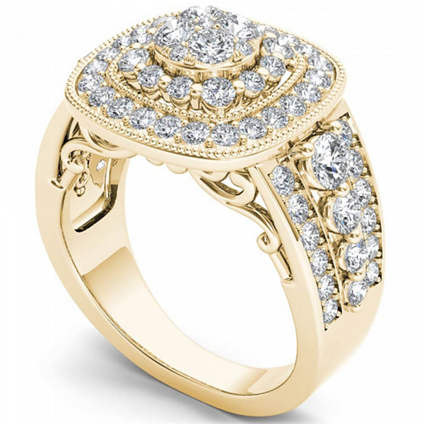 Womens 1 1/2 CT. T.W. Genuine Round White Diamond 14K Gold Engagement Ring
